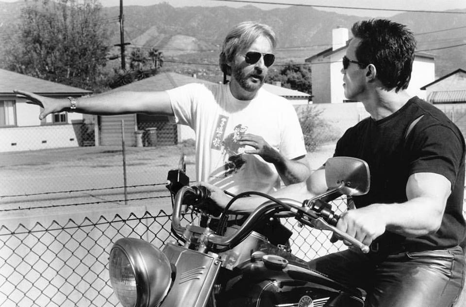 James Cameron and Arnold Schwarzenegger behind the scenes of 'Terminator 2: Judgment Day' (1991)