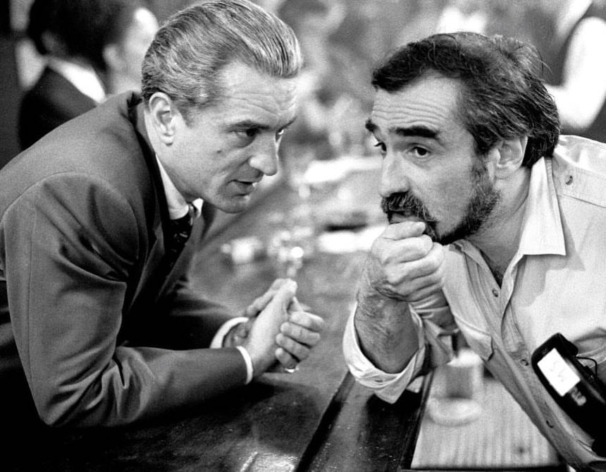 Martin Scorsese and Robert De Niro behind the scenes of 'Goodfellas' (1990)