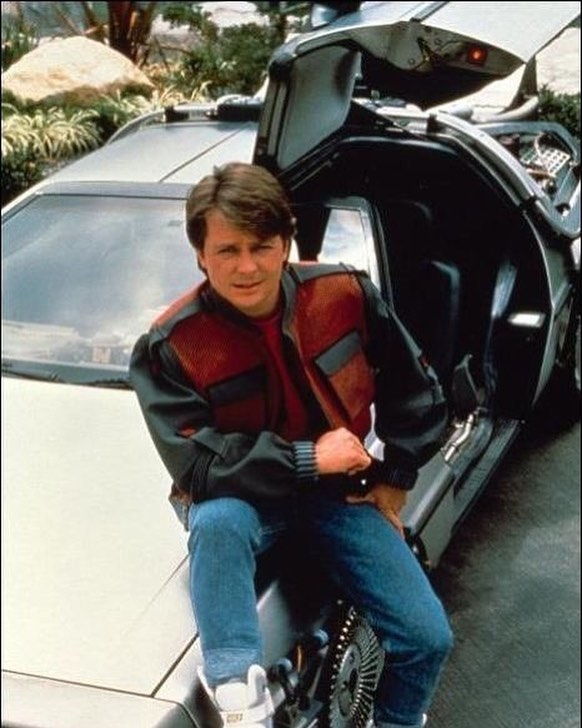Michael J. Fox and the DeLorean Time Machine on the set of