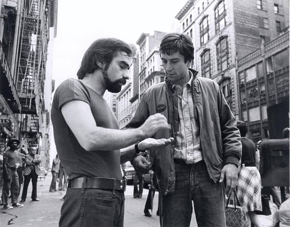 Martin Scorsese and Robert De Niro behind the scenes of 'Taxi Driver' (1976) in New York City