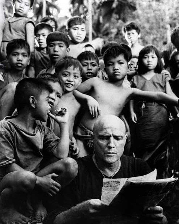 Marlon Brando on the set of 'Apocalypse Now' (1979) in the Philippines. Francis Ford Coppola decided to make his film in the Philippines for its access to American equipment and cheap labor. Although it wasn't his first choice