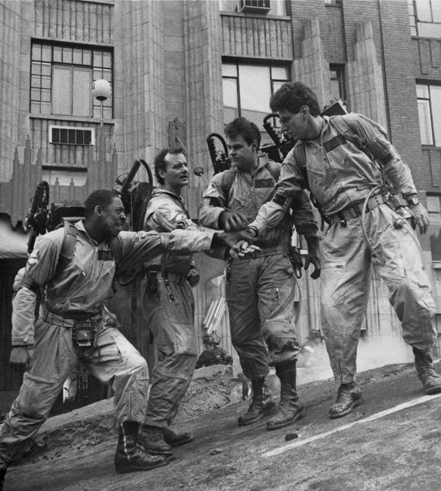 Ernie Hudson, Bill Murray, Dan Aykroyd and Harold Ramis in 'Ghostbusters' (1984)