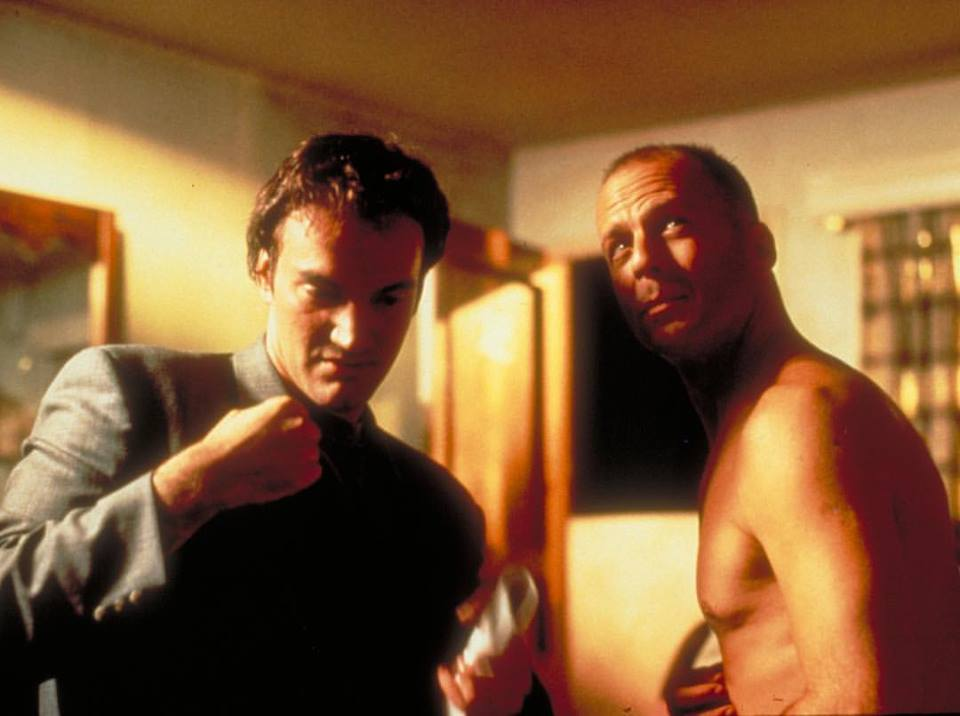 Quentin Tarantino directing Bruce Willis in 'Pulp Fiction' (1994)