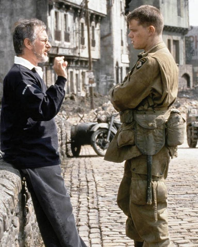 Steven Spielberg and Matt Damon on the set of 'Saving Private Ryan' (1998)