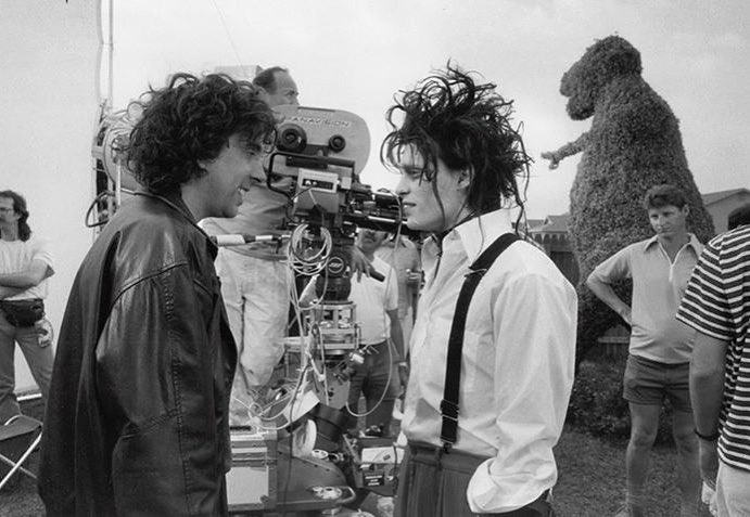 Tim Burton and Johnny Depp behind the scenes of 'Edward Scissorhands' (1990)