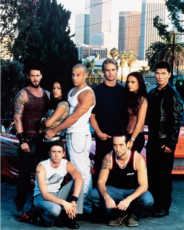 The cast of 'The Fast and The Furious' (2001): Matt Schulze, Michelle Rodriguez, Vin Diesel, Paul Walker, Jordana Brewster, Rick Yune, Chad Lindberg and Johnny Strong