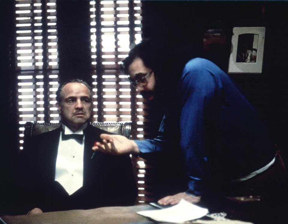 Francis Ford Coppola and Marlon Brando behind the scenes of