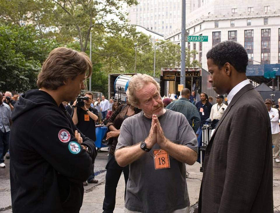 Ridley Scott directing Denzel Washington and Russell Crowe in 'American Gangster' (2007)