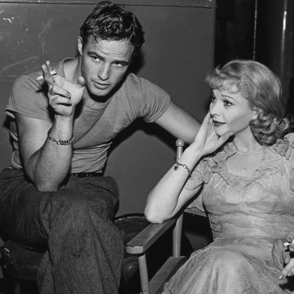 Marlon Brando and Vivien Leigh relax on the set of