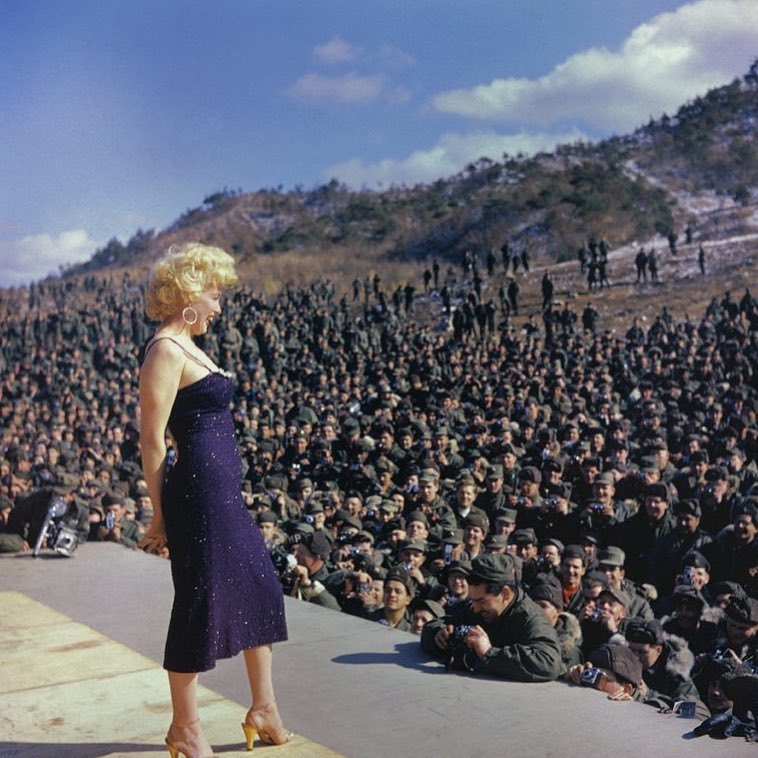 Marilyn Monroe performs for American troops in Korea, 1954