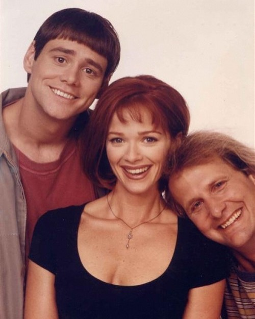 Promo shot of Jim Carrey, Jeff Daniels & Lauren Holly for 'Dumb and Dumber' (1994)