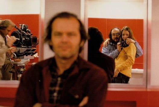 Stanley Kubrick and his daughter taking a photo of Jack Nicholson in the set of 'The Shining' (1980)