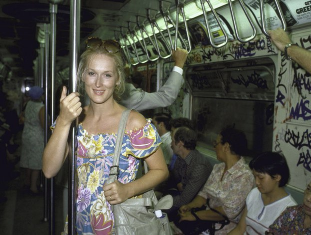 Meryl Streep, New York subway, 1961