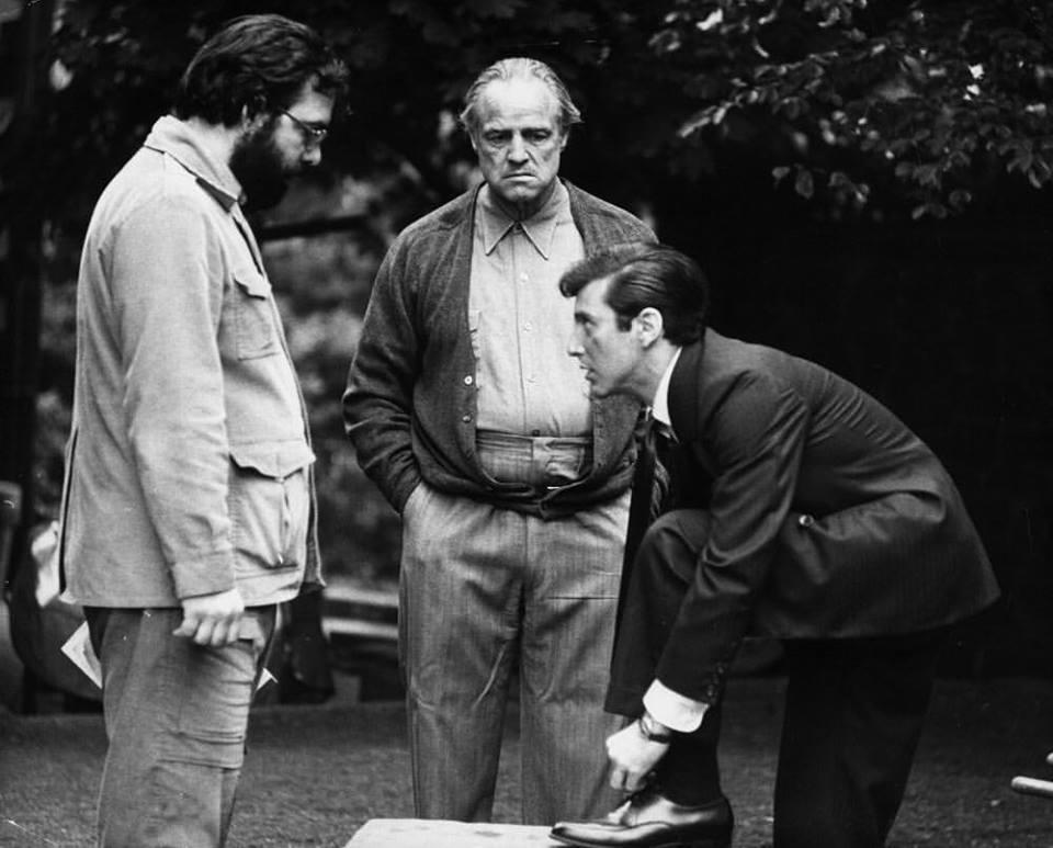 Francis Ford Coppola, Marlon Brando and Al Pacino rehearsing for