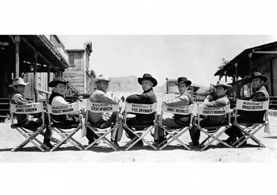 Charles Bronson, James Coburn, Steve McQueen, Yul Brynner, Robert Vaughn, Horst Buchholz and Brad Dexter. The original cast of the 'The Magnificent Seven' (1960)