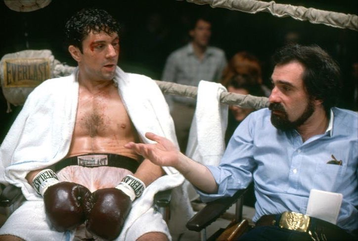 Martin Scorsese and Robert De Niro behind the scenes of 'Raging Bull' (1980)