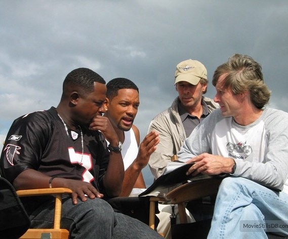 Will Smith with Martin Lawrence and Michael Bay behind the scenes of 'Bad Boy II' (2003)