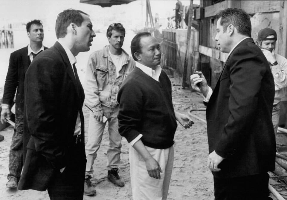 Nicolas Cage, John Travolta and director John Woo behind the scenes of