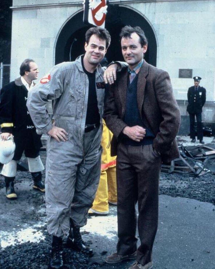 Bill Murray and Dan Aykroyd behind the scenes of