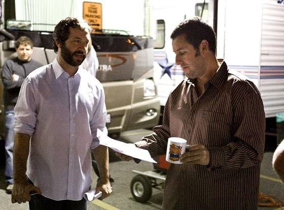 Judd Apatow and Adam Sandler behind the scenes of 'Funny People' (2009)