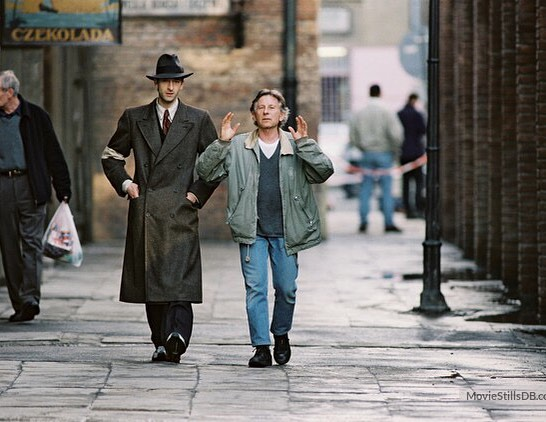 Roman Polanski and Adrien Brody behind the scenes of