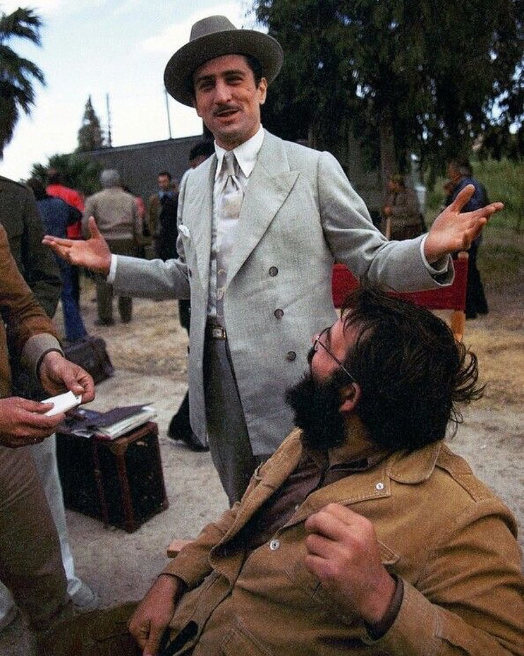 Robert De Niro behind the scenes with Francis Ford Coppola in