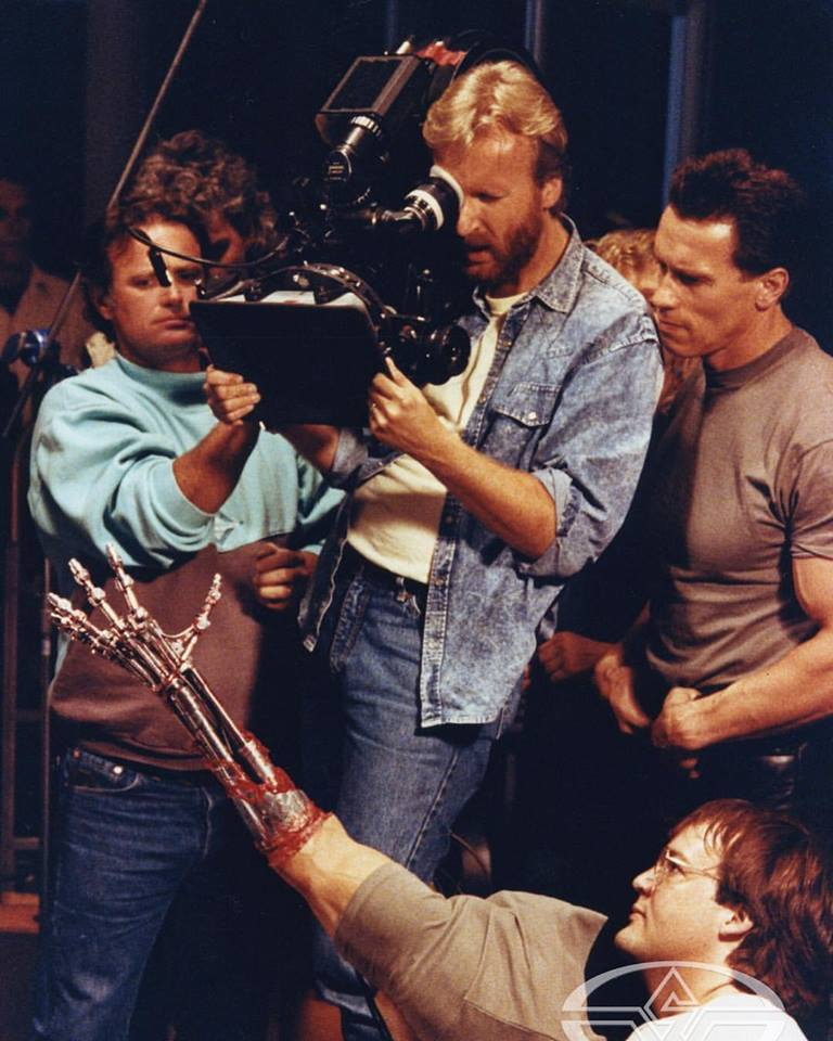 James Cameron and Arnold Schwarzenegger behind the scenes of 'Terminator 2: Judgement Day' (1991)