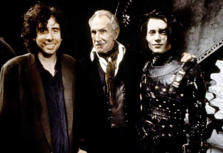 Behind the scenes photo of Tim Burton, Johnny Depp, & Vincent Price in 'Edward Scissorhands' (1990)