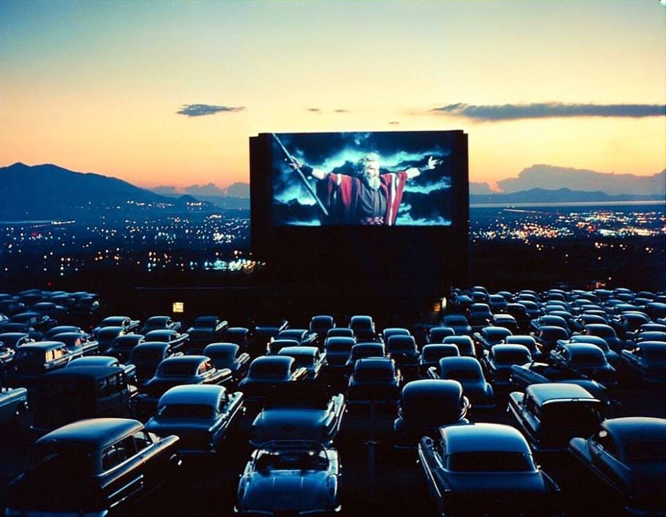 Charlton Heston as Moses in 'The Ten Commandments' (1956) drive-in theater, Salt Lake City, Utah, 1958