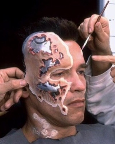 Arnold Schwarzenegger make-up preparation for T-800 in 'Terminator 2: Judgment Day' (1991)