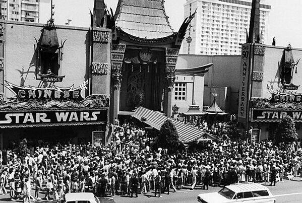 The opening day of Star Wars Episode IV: A New Hope in 1977