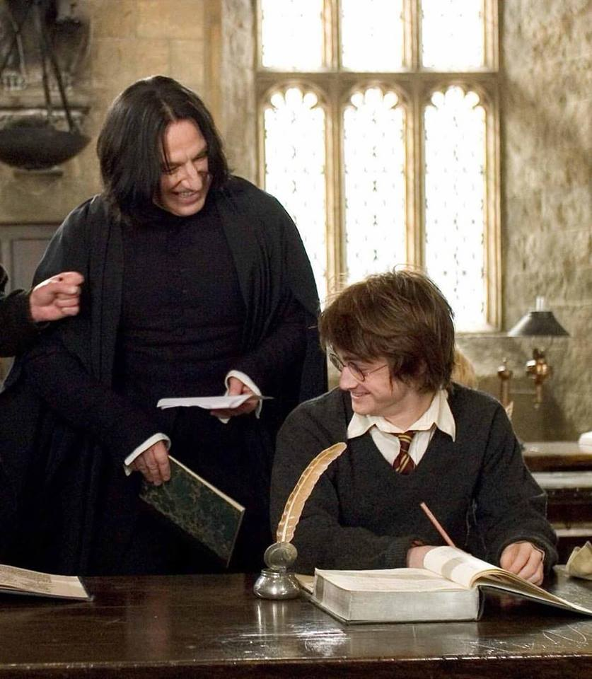 The legendary British actor Alan Rickman and Daniel Radcliffe behind the scenes of