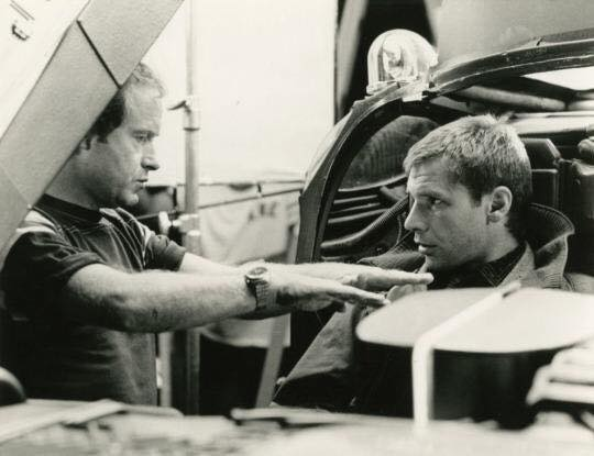 Ridley Scott and Harrison Ford on the set of