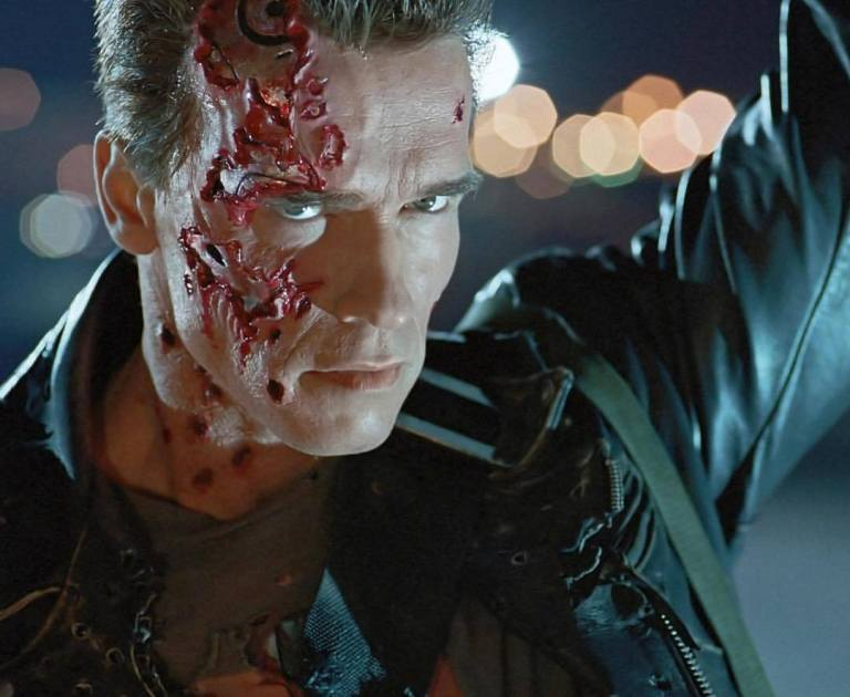 Arnold Schwarzenegger, a behind the scenes photo of 'Terminator 2: Judgment Day' (1991)