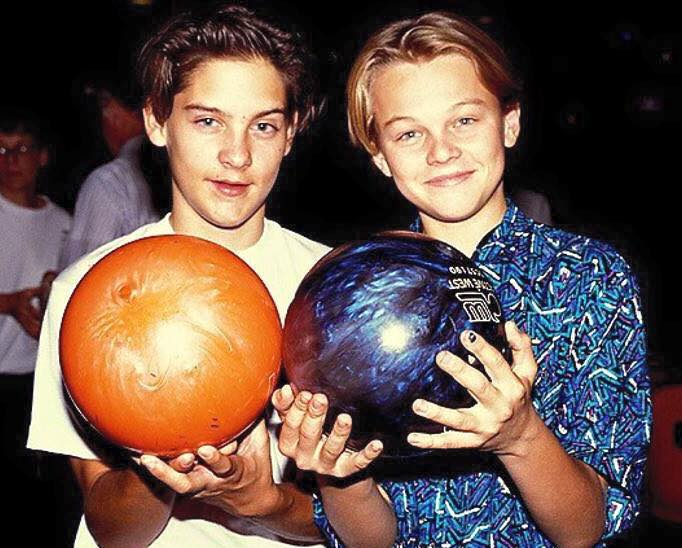 Tobey Maguire and Leonardo DiCaprio bowling, 1989