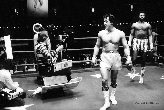 Behind the scenes: Sylvester Stallone and Carl Weathers prepare for fight scene in 'Rocky' (1976)