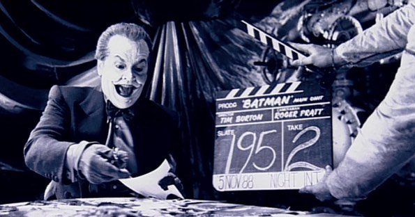 Jack Nicholson as The Joker getting ready for a scene in Tim Burton's 'Batman' (1989)
