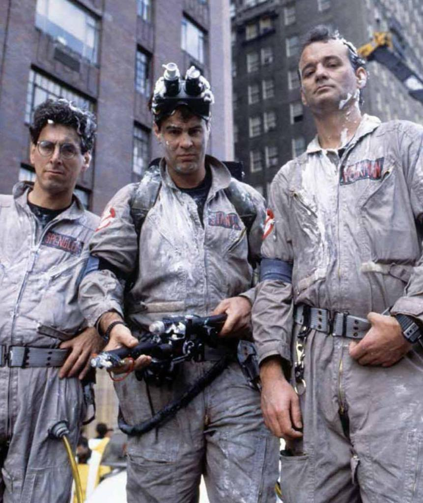'Ghost Busters' (1984) • Behind the scenes photo of Bill Murray, Dan Aykroyd & Harold Ramis