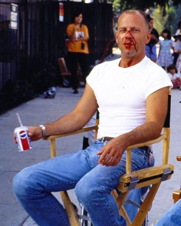 Bruce Willis on the set of