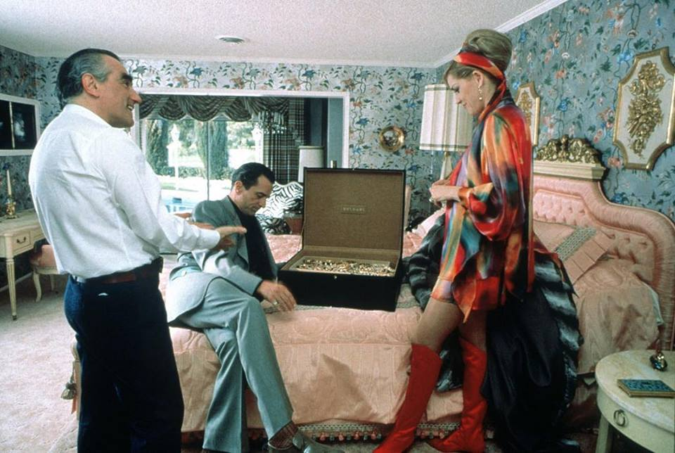 Sharon Stone with Robert De Niro and Martin Scorsese behind the Scene of 'Casino' (1995)