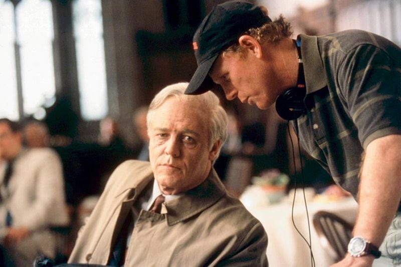 Ron directs Russell Crowe in 'Beautiful Mind' (2001)