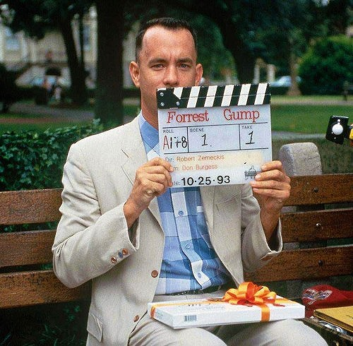 """Tom Hanks getting ready for the famous bench scene in """"Forrest Gump"""" (1994)"""