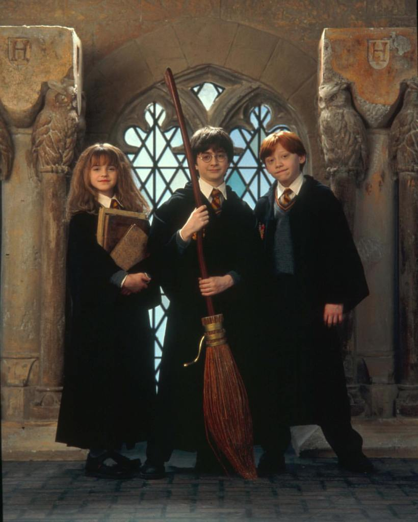 From the 'Harry Potter and the Sorcerer's Stone (2001), a promo shot of Daniel Radcliffe, Rupert Grint & Emma Watson