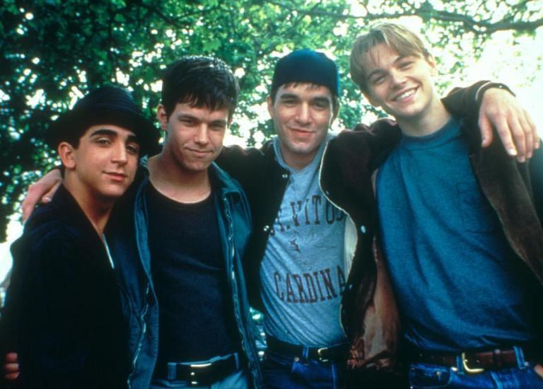 'The Basketball Diaries' (1995) - Behind the scenes photo of Leonardo DiCaprio, Mark Wahlberg, James Madio & Patrick McGaw