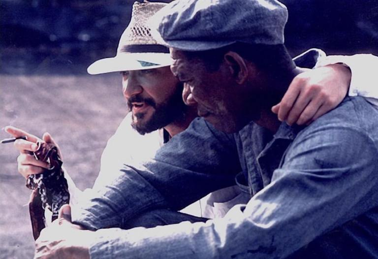 Director Frank Darabont directing Morgan Freeman behind the scenes of the amazing