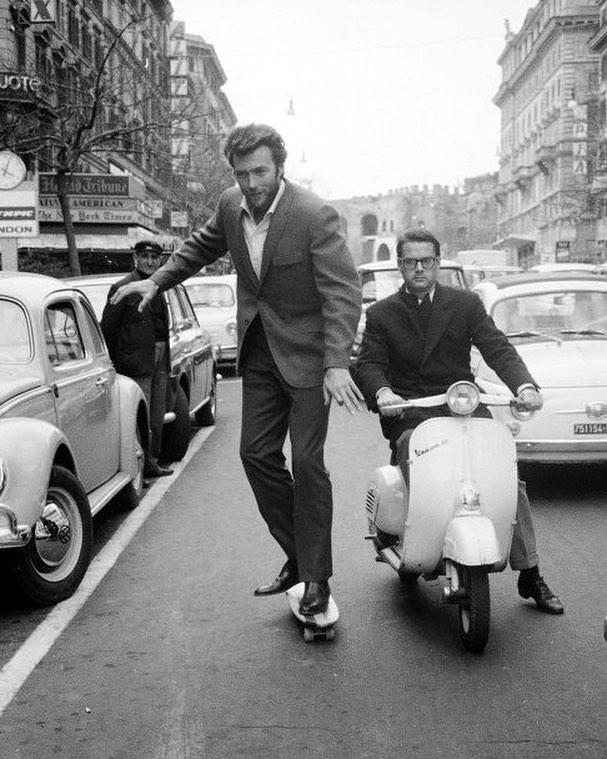 Clint Eastwood skateboarding in Rome, 1964
