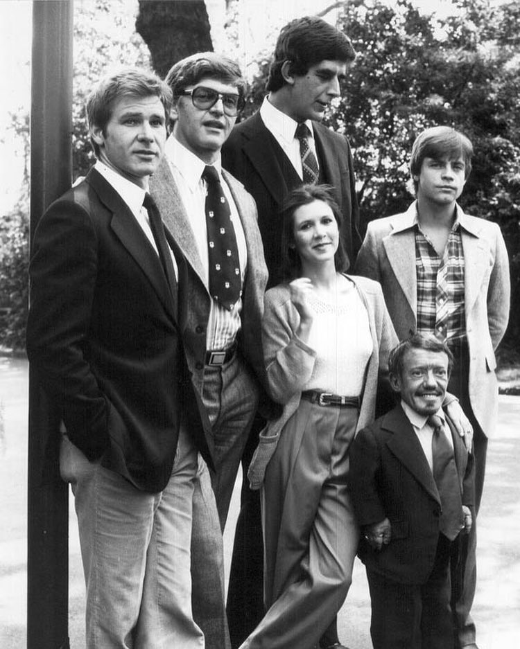 The cast of 'Star Wars: Episode V - The Empire Strikes Back' (1980): Harrison Ford, David Prowse, Peter Mayhew, Carrie Fisher, Mark Hamill and Kenny Baker