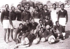 Image of the Nigerian national team without boots.
