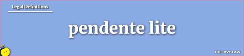 Pendente Lite - Alimony Pendente Lite - Pendente Lite Meaning - Pendente Lite Relief - Pendente Lite Hearing - Pendente Lite Support