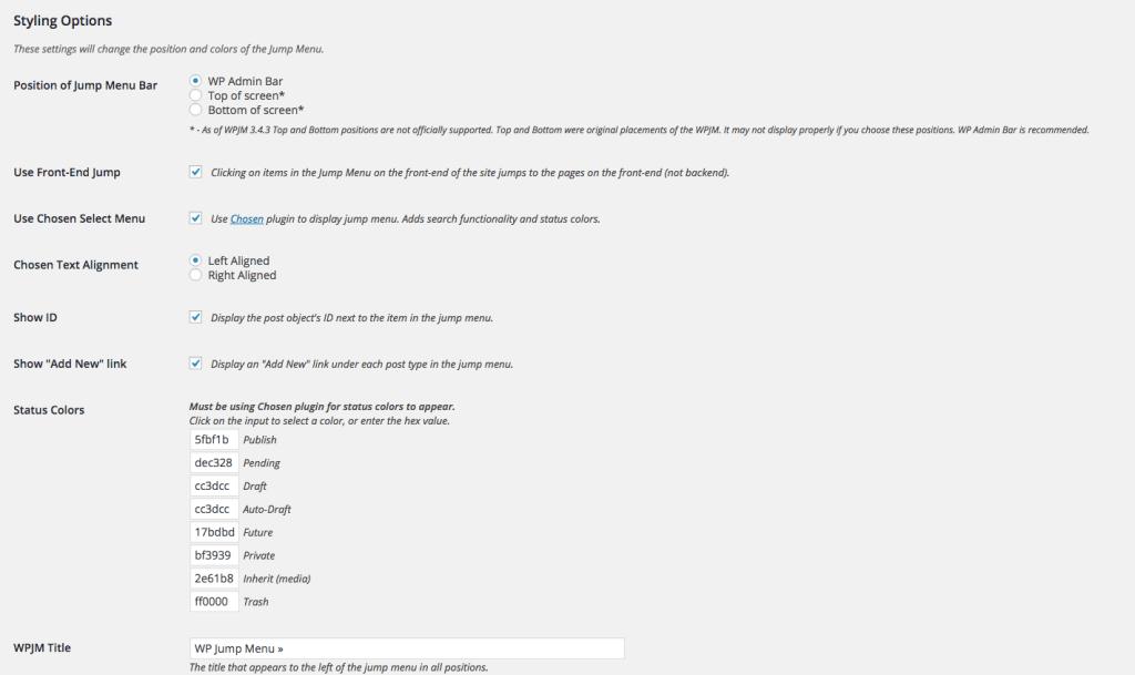 Jump menu styling options